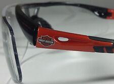 New Harley Davidson Safety Glasses Black Orange Frame Clear Lens - HD1100