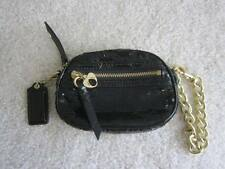 Coach Poppy Black Sequin Gold Clutch Case Coin Purse ID Slim Bag Chain Spotlight