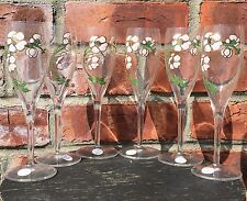 """Gorgeous Set Of 6 Floral Enameled Pierre Jouet French Champagne Glasses. 7 1/2"""""""