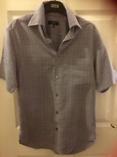 """Next XS, 36"""" chest,short sleeve shirt,grey/blue, chest pocket,buttons down front"""