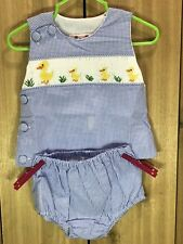 Baby Boy Blue Set 2pc 6M Yellow Ducklings w checked matching diaper pants BB13