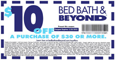 FIVE (5) BED BATH & BEYOND $10 OFF $30 ONE SINGLE ITEM COUPONS, Exp 11/23/2020