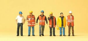 Preiser HO Scale Model Figure/People Set - Modern Workers/Safety Vests 6-Pack