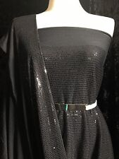 Tiny Full Sequins Sewn on Rayon Spandex Jersey   Sold By The Yard   Black