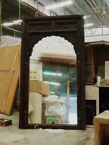 MADE TO ORDER Mehrab Indian Hand Carved Mirror Arched Wooden Wall Decor XL Size