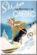 "Cool Retro Travel Poster CANVAS ART PRINT ~ Ski Quebec Canada 8""X 10"""