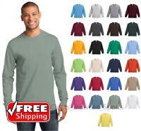 Mens PC61LS Long Sleeve T-Shirt Heavy Cotton Crewneck Plain Comfort T Blank Tee