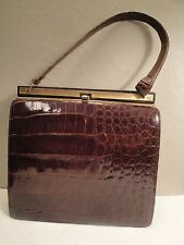 Vintage (1940s-50s) Bellestone Burgundy Brown Alligator Leather Lady's Handbag
