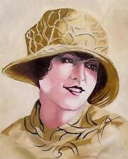 Dipinto originale olio su tela ritratto da Gregory Tillett: GOLDEN GLAMOUR