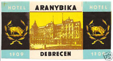 LUGGAGE LABEL HUNGARY DEBRECEN HOTEL ARANYBIKA