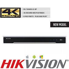 HIKVISION DS-7608NI-I2/8P 4K UHD H.265 8CH 8POE 12MP NVR 80MB VCA ONVIF MODEL