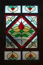 A STUNNING VICTORIAN STAINED GLASS PANELLED STRIPPED PINE FRONT DOOR DE0681