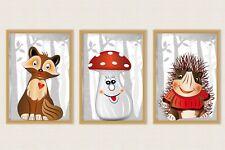 Bild Wald Set Tiere Pflanzen Pilze Kunstdruck A4 Deko Fineart Kinderzimmer