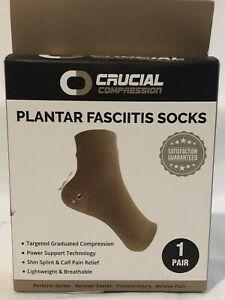 CRUCIAL COMPRESSION FOOT ANKLE SOCKS PLANTAR FASCIITIS PAIN RELIEF BEIGE SZ XXL