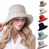 Women's Anti-UV Fashion Wide Brim Summer Beach Cotton Sun Bucket Hat T204