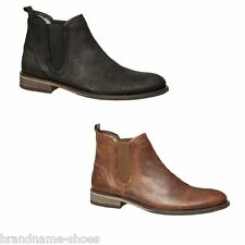 MENS JULIUS MARLOW ABORT CASUAL WORK DISTRESSED LEATHER BLACK TAN BROWN BOOTS
