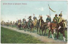 1900s Blackfoot Indian Parade on Horses Colored Vintage Postcard