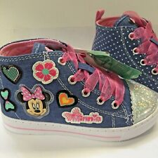 Disney Girls Minnie Mouse Denim Sneakers Size 10 Shoes Blue Pink Laces New