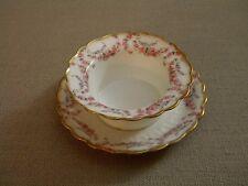 B. & H.  Limoges France Ramekin w/ Underplate Pink Flowers