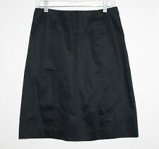 GAP - 4 (S) - Solid Black Sateen Cotton Stretch - Above-the-Knee A-Line Skirt