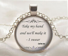 New Inspirational Quote Cabochon Tibetan silver Glass Chain Pendant Necklace