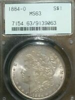 1884 O Morgan Silver Dollar PCGS MS 63 ORIGINAL TONING. NICE LUSTER..OLD HOLDER