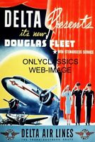 '40 DOUGLAS DC-9 DELTA AIRLINES TRAVEL POSTER AIRPLANE STEWARDESS PILOT AVIATION