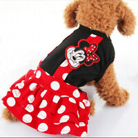Dog Clothes Minnie Mouse Strap Dress for Poodle Black and Red with White Dot