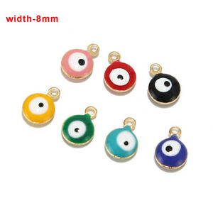 50pcs Stainless Steel Enamel Charms Turkish Eye Charms for diy Jewelry Making
