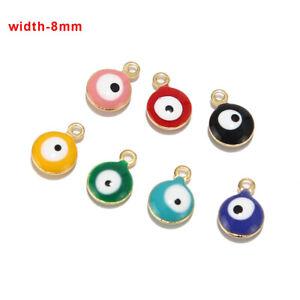 8mm Stainless Steel Turkish Eyes Enamel Charm Pendants for Jewelry Making