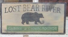 hand painted LOST BEAR RIVER CABINS & CAMPGROUNDS SIGN