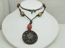 "Vintage Trial Brass & Orange Beaded  Necklace,Tribal Themed, 24"" Cut-Out Pendant"