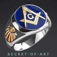 Masonic Ring Blue Lodge 925 Silver Freemason Masonry Gold-Plated All Seeing Eye