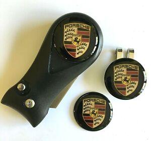 Golf Pitchfork Magnetic Hat Clip With 3 BLACK Porsche Markers