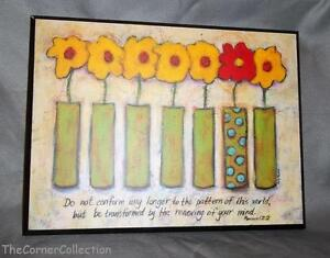 DAYSPRING INSPIRATIONAL ROMANS 12:2 DO NOT CONFORM ROW OF VASES PLAQUE