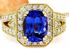 4.50 Carat Natural Tanzanite 18K Solid Yellow Gold Luxury Diamond Ring