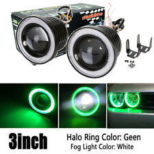 2X 3inch 3200Lm LED Projector Fog Light Round Green Angel Eye Halo 4X4 ATV Truck