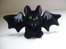 Halloween Vampire Bat Toy Fangs Green Eyes Flocked NOS 1960s Hong Kong Vintage