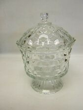 """Homco Fostoria American Footed Clear Glass Candy Bowl  w/ Lid 8.5"""" tall VGC"""