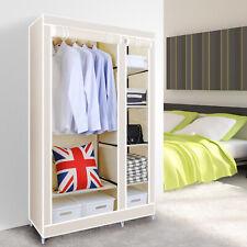 Double Fabric Closet Wardrobe Cabinet Clothes Storage Organizer  Hanger Rack