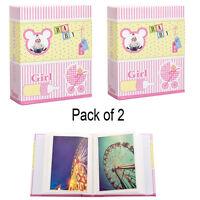 2X Small Baby Girl Pink 6x4 Photo Album Slip in Case for 100 Photos AL-9139-2PK