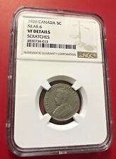 1926 NEAR 6 Canada Five Cents NGC VF DETAILS SCRATCHES