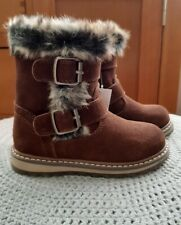 💕 Next Chocolate Leather Faux Fur Buckle Zip Boots Warm Lining Size 6 EUR 23 💕