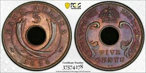 1936-KN East Africa 5 Cents PCGS MS63BN TONED FINEST KNOWN GRADE WORLDWIDE