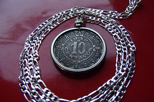 "Aztec Calendar Coin Pendant Necklace [Pre 1946] 20"" 925 Sterling Silver Chain"