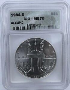 1984-D Olympics ICG MS70 Commemorative $1 Silver Dollar - VERY RARE!!!