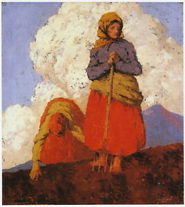 The Field Workers, Achill, Paul Henry print in 11 x 14 inch mount ready SUPERB
