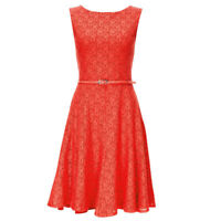 Wallis Coral Sz 8-12 Lace Lined Fit & Flared Shift Dress Occasion Wedding Party