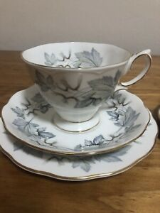 Vintage Royal Albert Silver Maple Trio Cup Saucer And Plate