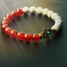 Charm Red White Beaded Gold Hamsa Hand Stretch Bracelet Lava Lucky Man Bracelets